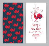 Red Rooster symbol of 2017. Vector greeting card with illustration of rooster, symbol of 2017 on the Chinese calendar.Silhouette of red cock, decorated with Stock Photography