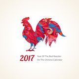 Red Rooster symbol of 2017. Vector illustration of rooster, symbol of 2017 on the Chinese calendar. Silhouette of red cock, decorated with floral patterns Stock Image
