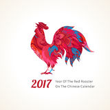 Red Rooster symbol of 2017. Vector illustration of rooster, symbol of 2017 on the Chinese calendar. Silhouette of red cock, decorated with floral patterns Royalty Free Stock Photos