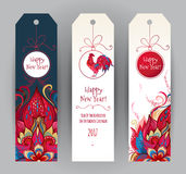 Red Rooster symbol of 2017. Vector vertical tags with illustration of rooster, symbol of 2017 on the Chinese calendar. Silhouette of red cock, decorated with Stock Photos