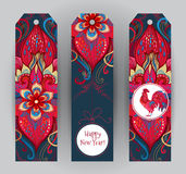 Red Rooster symbol of 2017. Vector vertical tags with illustration of rooster, symbol of 2017 on the Chinese calendar. Silhouette of red cock, decorated with Royalty Free Stock Photography