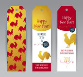 Red Rooster symbol of 2017. Vector vertical tags with illustration of rooster, symbol of 2017 on the Chinese calendar. Silhouette of red cock, decorated with Royalty Free Stock Photos