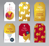Red Rooster symbol of 2017. Vector vertical tags with illustration of rooster, symbol of 2017 on the Chinese calendar. Silhouette of red cock, decorated with Royalty Free Stock Images