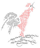 Red Rooster is a symbol 2017 year. Type composition on different languages Royalty Free Stock Photos