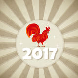 Red rooster on vintage beige background . Vector illustration . Royalty Free Stock Image