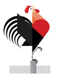 Red Rooster on white background. Red Flamy Rooster is symbol of 2017 year Stock Image