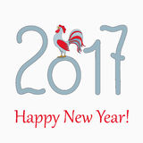 Red rooster for year 2017. New year`s banner with symbol of the year 2017 red rooster and  text Happy New Year 2017 Stock Photos