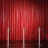 Red rope barrier with a curtain Stock Photos