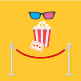 Red rope barrier stanchions turnstile 3D glasses big popcorn and ticket. Cinema icon in flat design style. Royalty Free Stock Photography