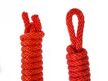 Red rope head and botton isolated. On white background Royalty Free Stock Photo