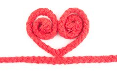 Red rope heart isolated Royalty Free Stock Photo