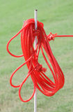 The red rope on iron prong pole. Stock Photos