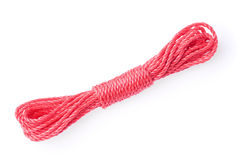 Red rope isolated on white Royalty Free Stock Photography