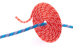 Red rope spiral and blue one Royalty Free Stock Photography