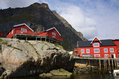 Red rorbu fishing huts Stock Images
