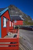 Red rorbu fishing huts Royalty Free Stock Photos