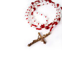 Red Rosary 1. Red Rosary Beads with gold Cross stock photography