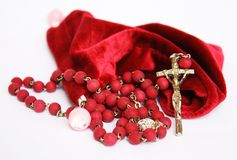 Red Rosary. A red rosary made by wood Stock Photography