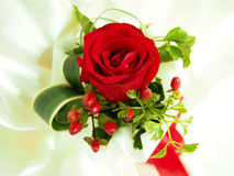 Red Rose. Bouquet with Red Ribbon Stock Photos
