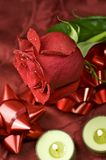 The Red Rose. Fresh Cut Red Rose and Small Green Candles Stock Photo