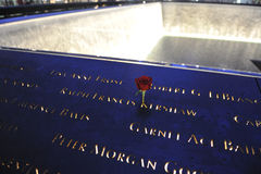 Red rose on 911 memorial Royalty Free Stock Photos