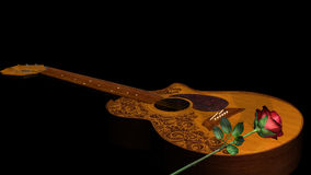 Red Rose on Acoustic Classical Guitar Royalty Free Stock Photography