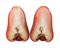 Red rose apple cut in half Stock Photos