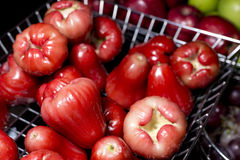 Red rose apple in steel basket Stock Images