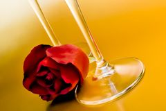 Red rose arranged near wineglass Stock Image