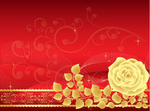 Red rose background. Beautiful golden Rose illustration on a red backgraund with swirls, leaves and stars Royalty Free Stock Images