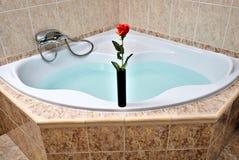 Red Rose in a black vase on a corner bathtub Stock Image