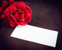 Red rose and blank gift card for text on old wood background Royalty Free Stock Image