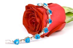Red rose and blue Jewel. Beautiful red rose with blue color jewelery on it, ISOLATED on white Royalty Free Stock Photos