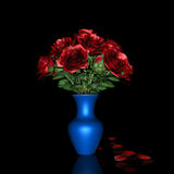 Red Rose and blue pot. Royalty Free Stock Photos