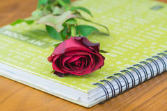 Red rose. On the book on old wood background Stock Photo