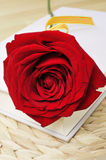 Red rose and book, for Saint Georges Day in Catalonia, Spain Stock Images