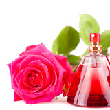 Red rose and a bottle of perfume isolated on white Stock Photo