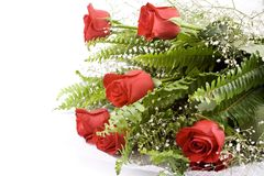 Red rose bouquet. Isolated on white background Stock Photo