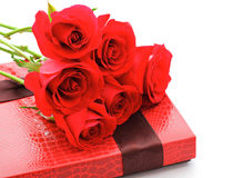 Red rose bouquet and gift box Stock Photo