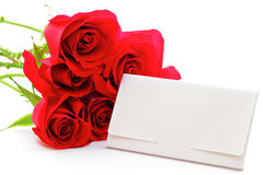 Red rose bouquet and gift card Stock Image