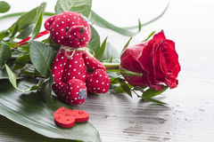Red rose bouquet with red Teddy bear Stock Images