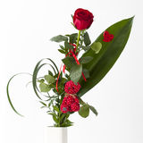 Red rose bouquet with red Teddy bear Stock Photos