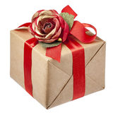 Red Rose Bow Gift Box Isolated Stock Image