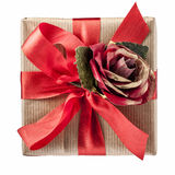 Red Rose Bow Gift Box Top View Isolated Royalty Free Stock Photo