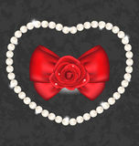 Red rose with bow and pearls for Valentine Day Stock Photography