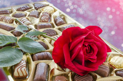 Red rose and box of candy Royalty Free Stock Image