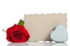 Red rose with box in the shape of a heart Royalty Free Stock Photography