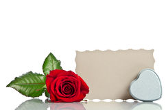 Red rose with box in the shape of a heart Royalty Free Stock Image