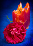 Red rose with a candle Royalty Free Stock Photos