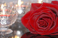 Red rose and candles Royalty Free Stock Photo
